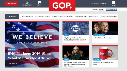 The front page of the Republican Party website doesn't mention Donald Trump