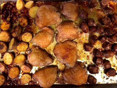 Three easy sheet pan dinners: chicken, salmon, chickpea and cauliflower