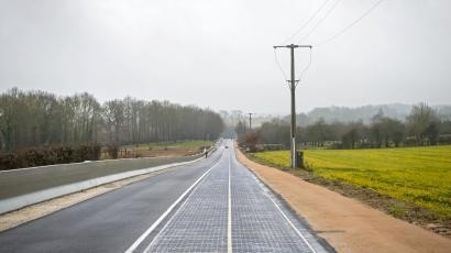 The first road paved in solar panels opened in France