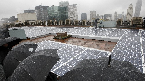 Graphene-coated solar panels could create electricity from raindrops