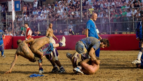 The world's most brutal game of soccer is played in 16th century costume