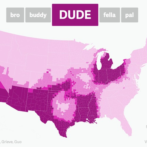The dude map: How Americans refer to their bros