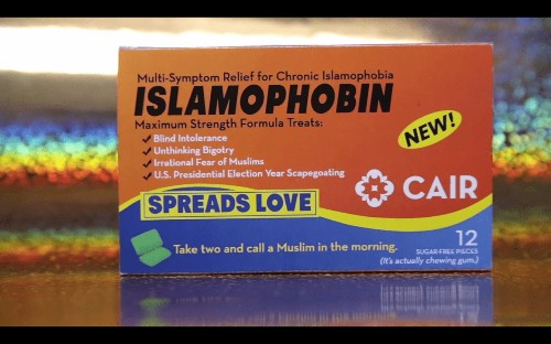 A really funny ad is promoting a chewing gum to cure Islamophobia
