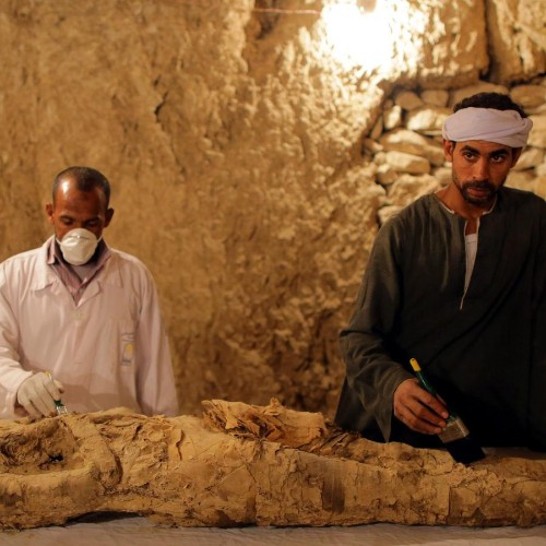 Photos of the two ancient tombs just been opened in Luxor, Egypt