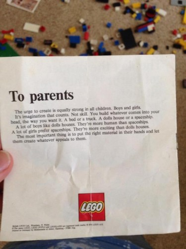 Forty years ago, Lego wrote a powerful letter to parents about how gender works