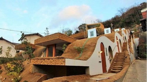 A new residential complex in Japan is built into the side of a mountain