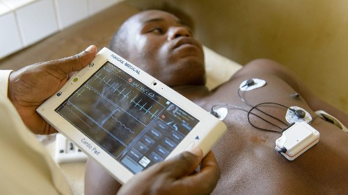 A heart monitoring tablet in Cameroon produces EKGs in 20 minutes