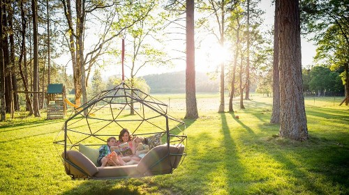 This part-hammock, part-bed geodesic dome will elevate your summer lounging