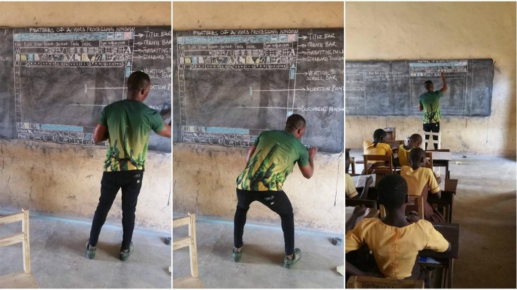 The story behind a viral photo of a teacher in Ghana showing students Windows on a blackboard