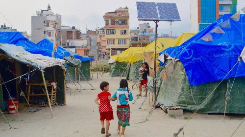 A luxury hotel in Nepal is still hosting a camp for earthquake survivors, over one year later