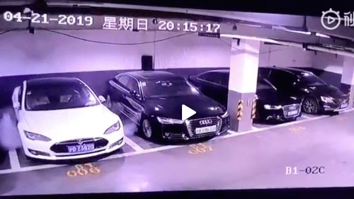 A video showed a parked Tesla Model S exploding in Shanghai