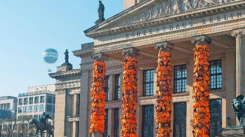 Photos: Artist Ai Weiwei has draped Berlin's concert hall with 14,000 refugee life jackets