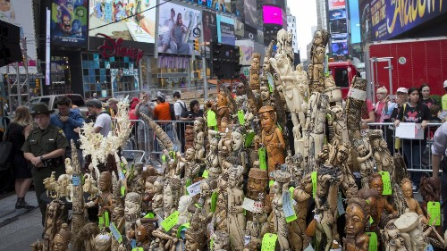 Watch: The US destroyed a literal ton of illegal ivory in Times Square