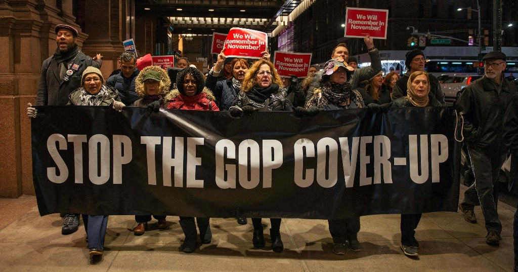 "The Senate Acquitted Trump Of All Charges, But These Protestors Say ""Reject The Cover-Up"""