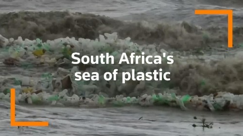 Plastic bottles churn through waves on South African beach | Reuters Video