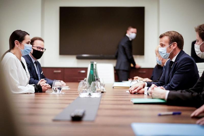 Macron meets exiled Belarus opposition leader, promises help