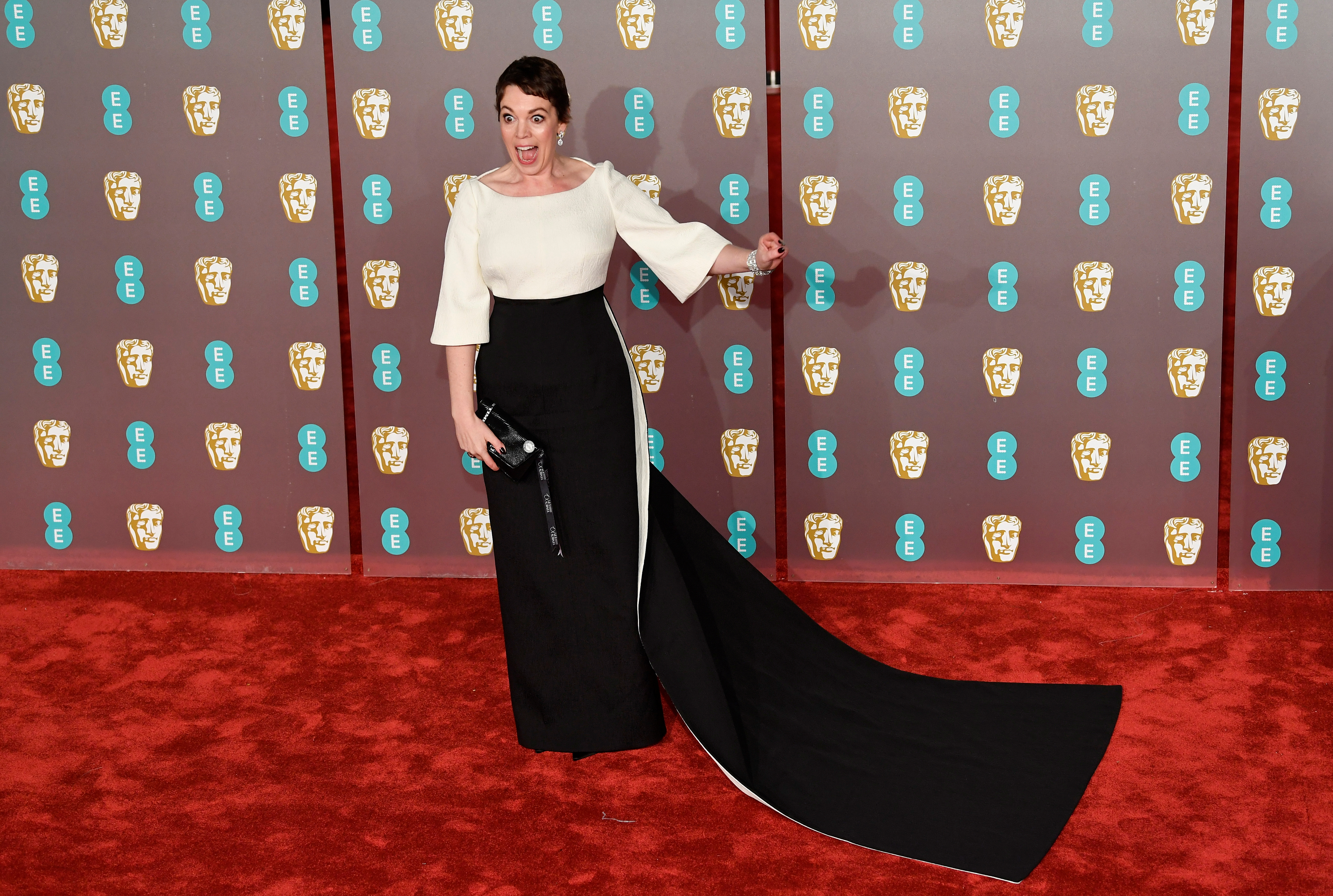 Hollywood glamor, shiny embellishments on BAFTA red carpet