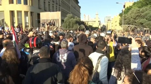 Lebanese protesters attack MP convoy en route to parliament   Reuters Video