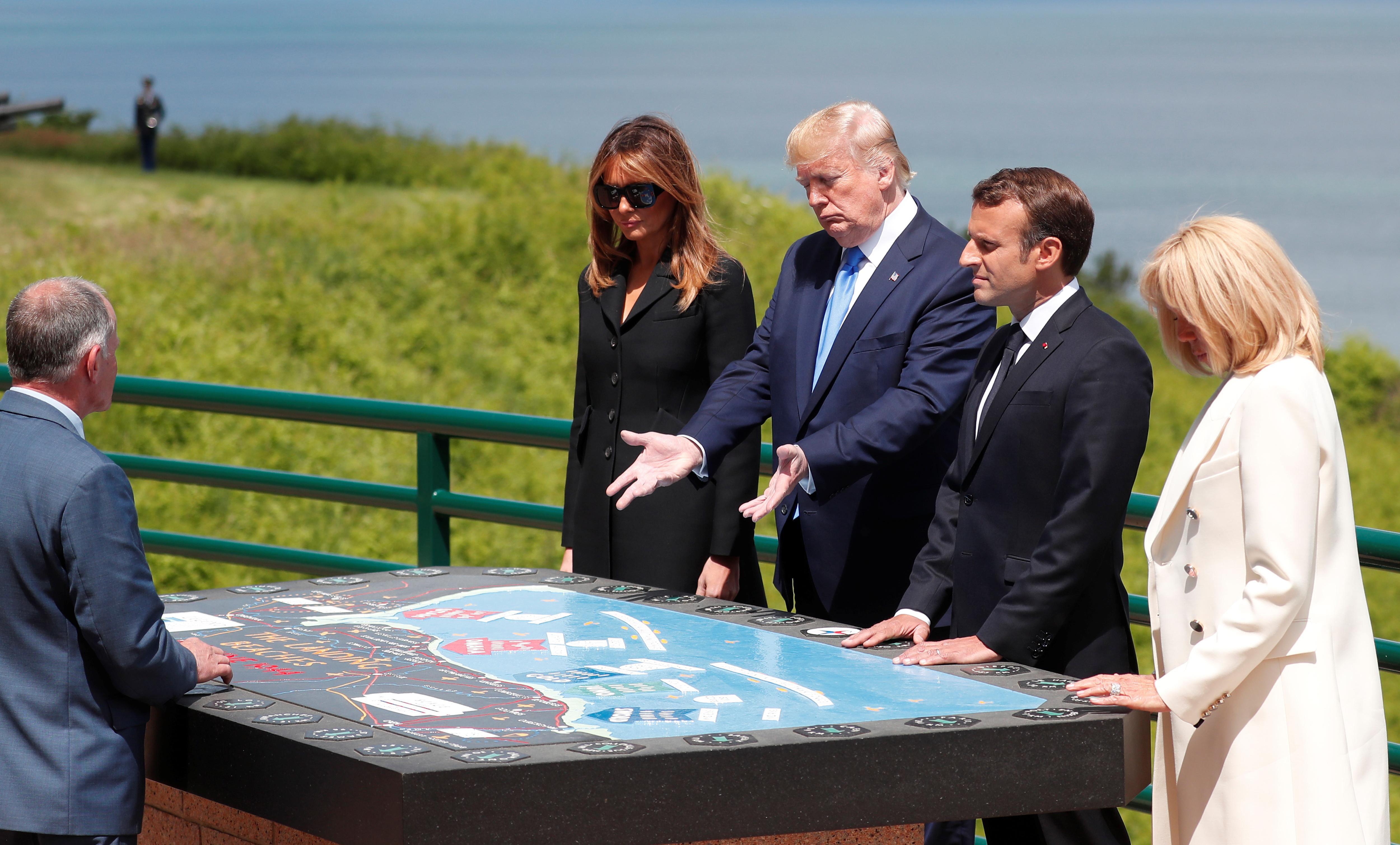 Trump y Macron honran a los veteranos del desembarco de Normandía a 75 años del Día D