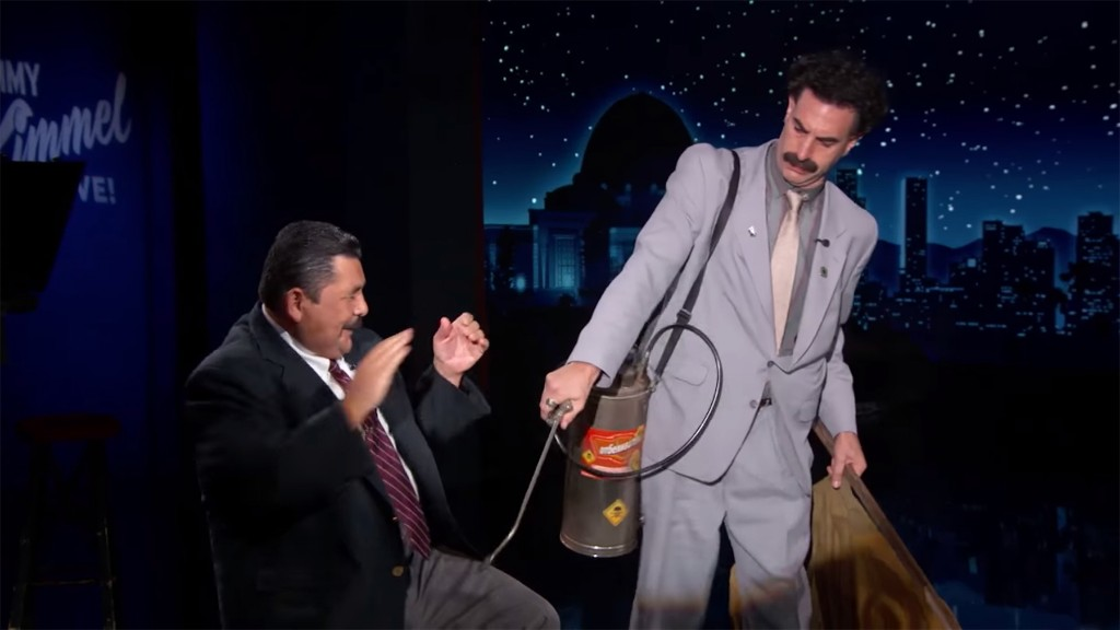 Borat Tries to Collect Jimmy Kimmel's Pants, 'Liquid Release' for Covid-19 Test