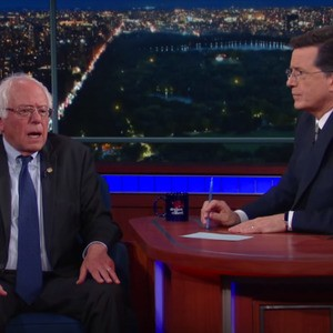 """We do not want a bigot to become president"": Watch Bernie Sanders explain his new strategy to Stephen Colbert"