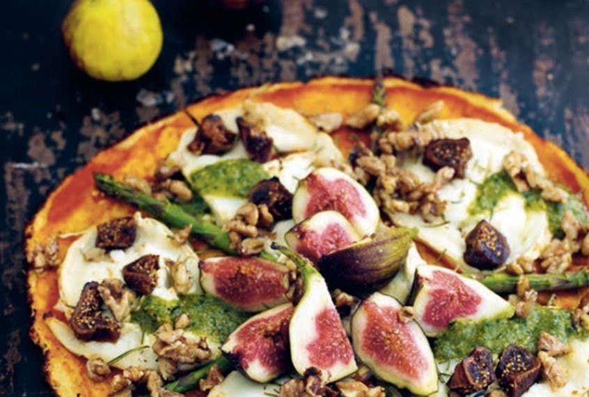 Goat cheese, fig and asparagus provide a depth of flavor to this beautiful cauliflower pizza