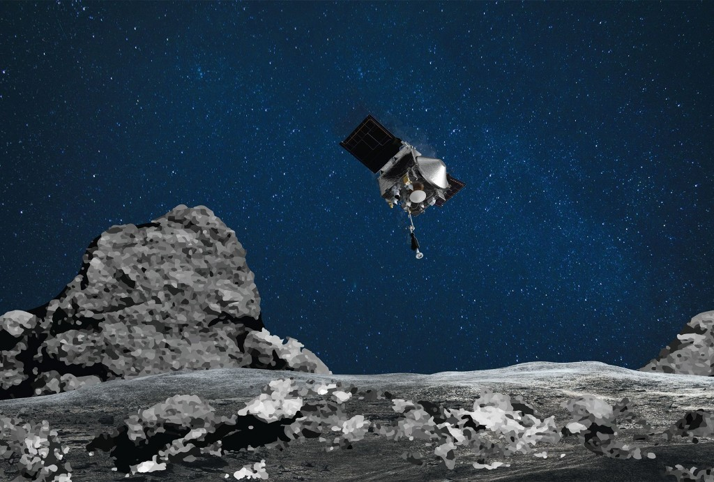 Watch a NASA spacecraft collect pebbles from the ancient asteroid Bennu