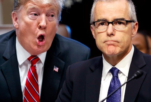 "White House had ""to calm"" Trump after he learned Justice Department won't charge McCabe: report"
