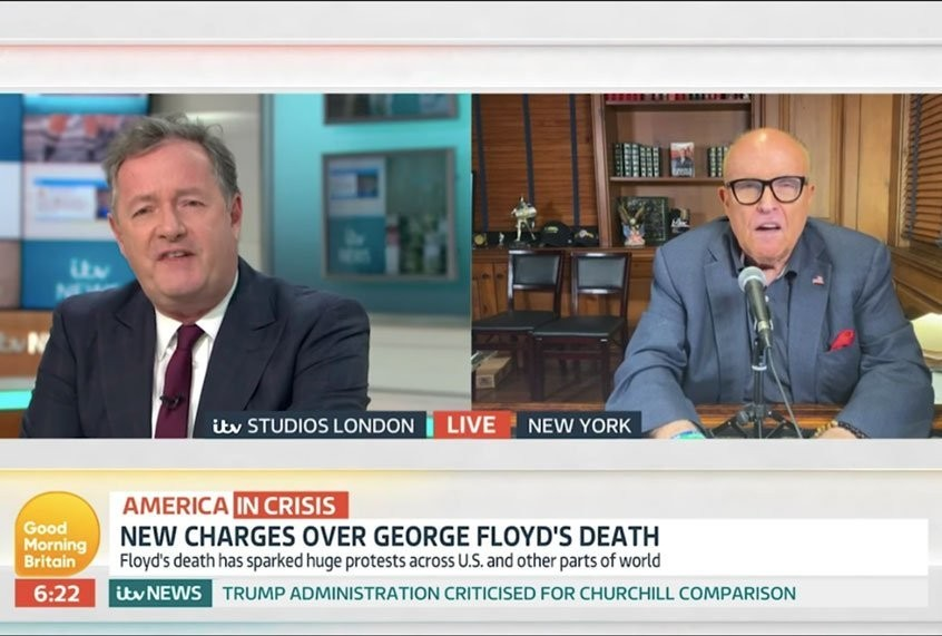 """Piers Morgan stops train wreck-interview to inform Rudy Giuliani he sounds """"completely barking mad"""""""