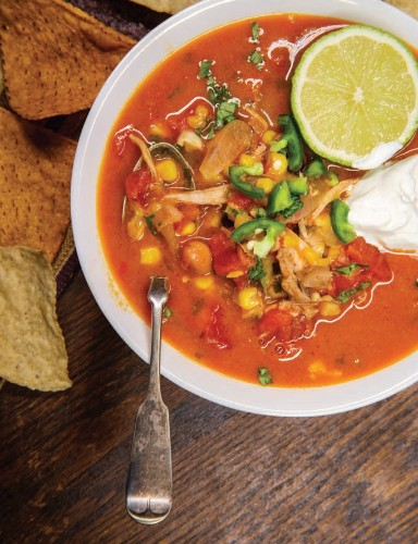 Store-bought salsa makes this chicken tortilla soup a super-easy meal to put together