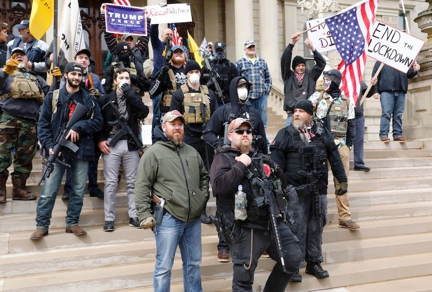 """Michigan manbaby protest: Wait, we thought conservatives were """"rugged individuals"""""""