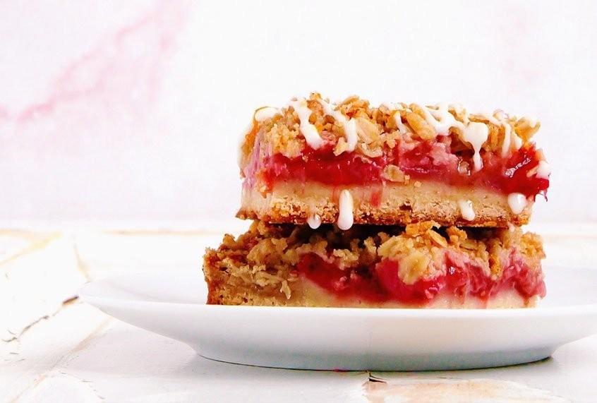 A fruit crisp meets an old fashioned cocktail: Strawberry rhubarb crisp bars redefine summer dessert