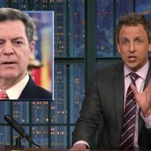 """""""Just boxes and boxes of dildos"""" Seth Meyers roasts Kansas Gov. Sam Brownback after state sells adult toys to fix his tax screw-up"""