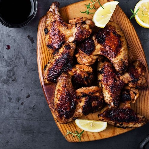 Coffee and beer are the secret ingredients to these juicy – but not spicy! – chicken wings