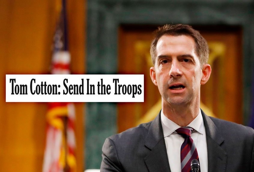 "After Tom Cotton's ""Send in the troops"" op-ed, NYT staff stages internal rebellion"