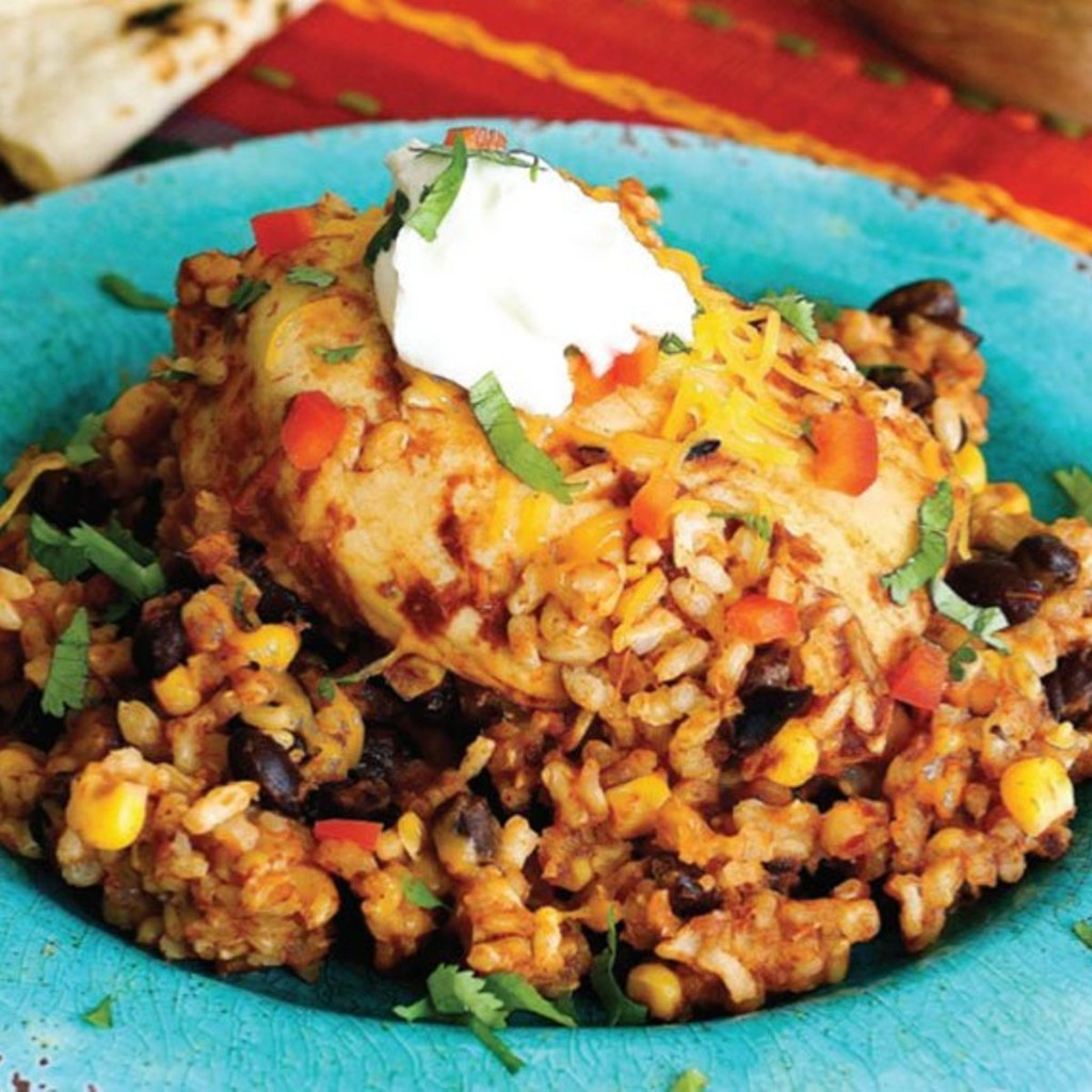 Don't forget to garnish this slow-cooker chicken and salsa with avocado, cheese and sour cream