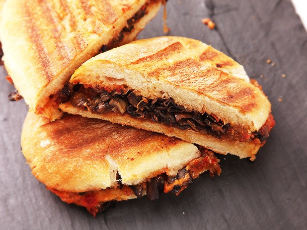 Vegan Caramelized Onion and Mushroom Panini With Sun-Dried Tomato Mayonnaise Recipe