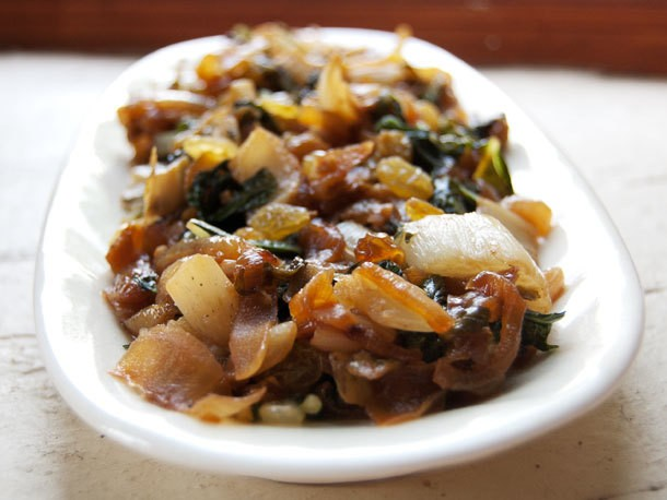 Sautéed Bok Choy with Caramelized Onions, Golden Raisins, and Toasted Pine Nuts Recipe