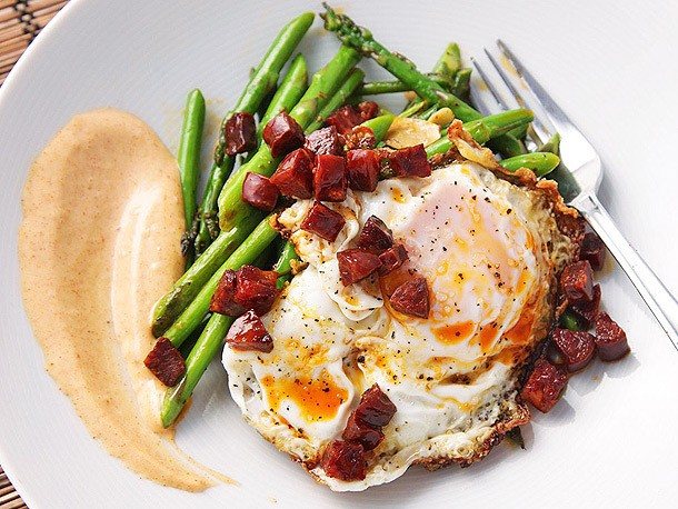 Sautéed Asparagus With Chorizo, Fried Eggs, and Smoked-Paprika Allioli Recipe