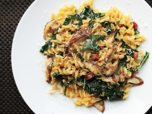 Cook This Easy One-Skillet Pasta with Mushrooms, Pancetta, and Wilted Greens