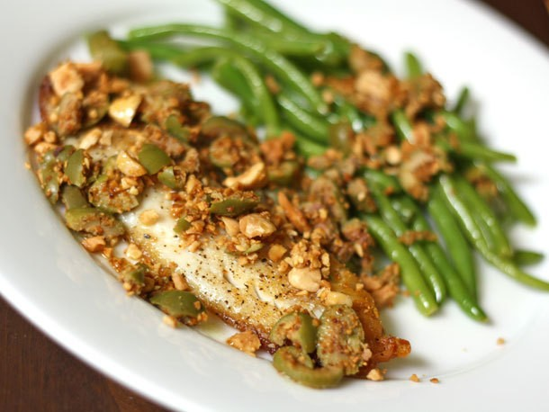 Tilapia with Toasted Almonds and Green Olives Recipe
