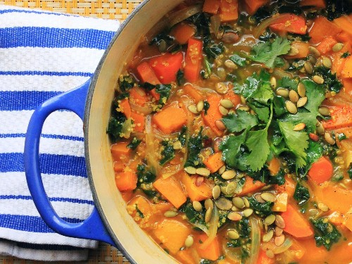 Vegan Curry Butternut Squash Soup With Kale Recipe