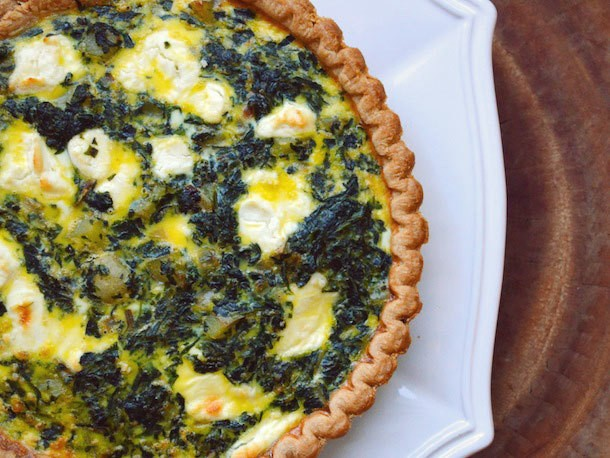 Potato, Spinach, and Goat Cheese Quiche Recipe