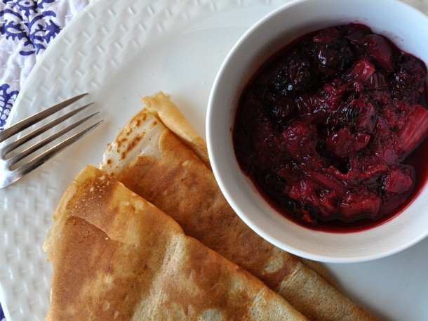 Crepes With Blackberry-Rhubarb Compote Recipe