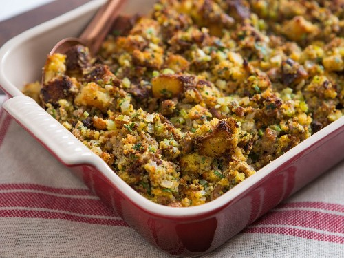 Southern Cornbread Dressing With Oysters and Sausage Recipe
