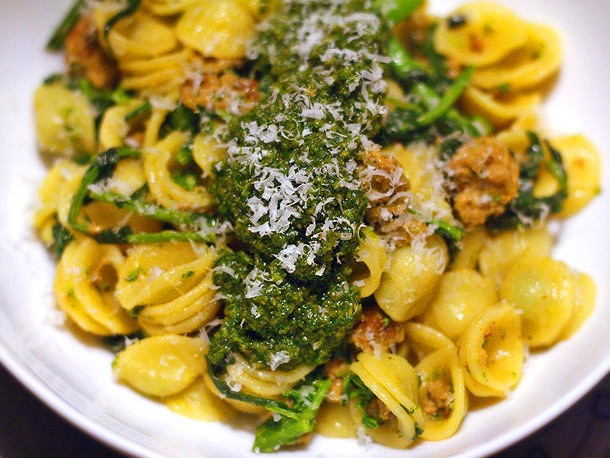 Orecchiette With Broccoli Rabe, Spicy Italian Sausage, and Pesto Recipe