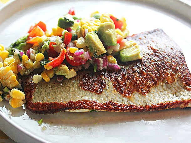Pan-Fried Whitefish With Corn, Avocado, Lime and Basil Relish Recipe