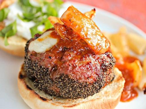 Grilled Mozzarella-Stuffed Italian Sausage Burgers With Vinegar Peppers Recipe