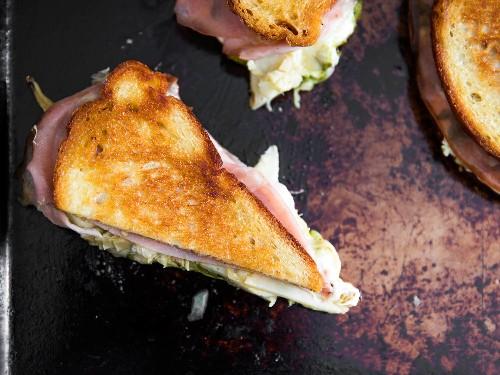 Italy, Sandwiched: Mozzarella, Pesto, and Mortadella Grilled Cheese
