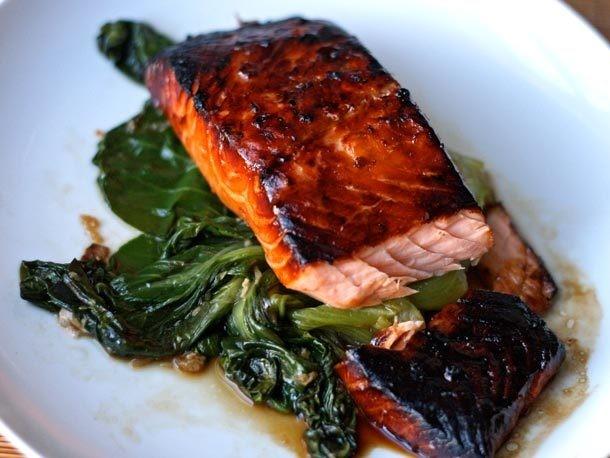 Dinner Tonight: Honey-Soy Glazed Salmon with Bok Choy Recipe